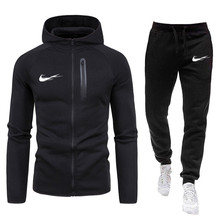 Suit Pants Sportswear Clothing Hoodie Zipper Fitness Two-Pieces Autumn Winter Men's New
