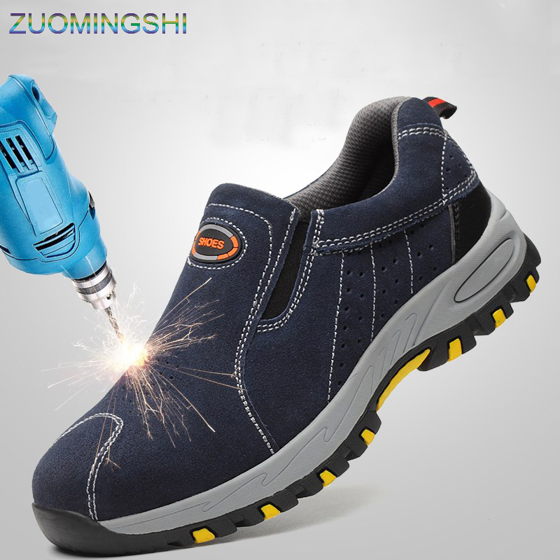 Steel Toe Safety Boots Men Work Shoes Men Work Boots Breathable Slip On Casual Boots  Security Shoes