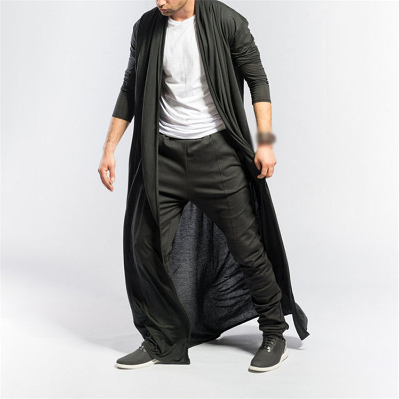 Fashion Casual Windbreaker Men Spring Autumn Thin Men's Mature Long Slim Shirt Outwear Casual Fashion Solid Color Men's Cloak