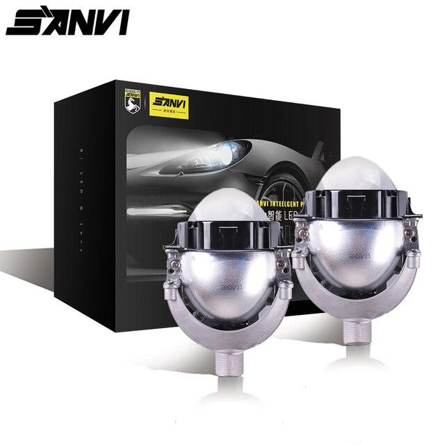 Sanvi 3 بوصة 35W 5500K ثنائية جهاز عرض (بروجكتور) ليد عدسة المصباح السيارات العارض H4 H7 9006 LED مجموعة أسلاك ربط المصابيح سيارة دراجة نارية المصباح