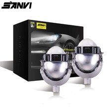 Sanvi 3 pouces 35W 5500K Bi projecteur LED lentille phare Auto projecteur H4 H7 9006 lumière LED Kit de rénovation voiture moto phare