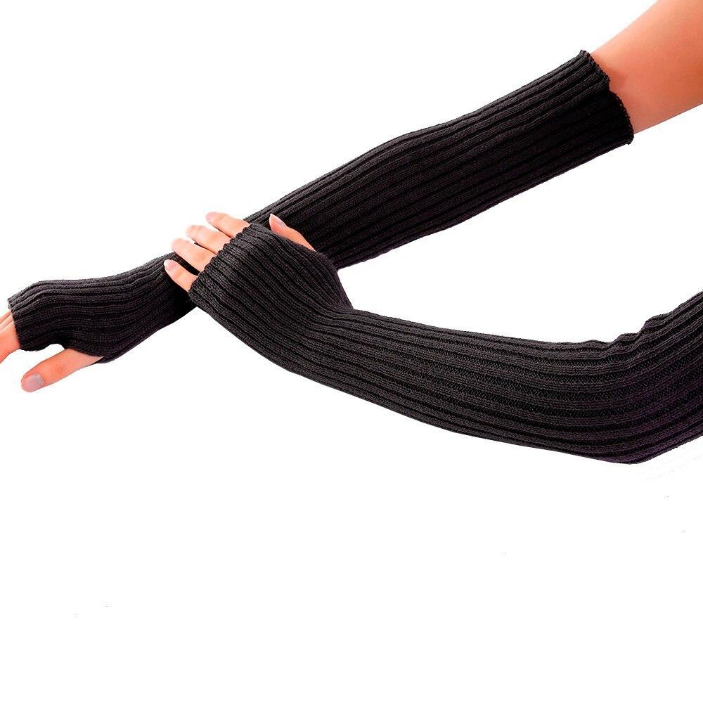 Women Winter Gloves Wrist Arm Warmer Solid Knitted Long Fingerless Gloves Mitten Handschoenen Tactical Gloves Перчатки Guantes