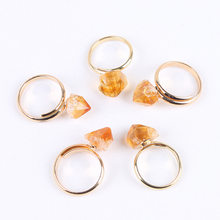 Small Reiki Mineral Gold Color Adjustable Open Ring Rock Natural Citrines Rings Yellow Quartz Crystal Ring Wedding Jewelry Women(China)