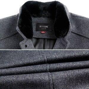 Image 5 - معطف رجالي طويل من الصوف ماركة Mu Yuan Yang معطف 50% من الصوف للرجال ملابس شتوية غير رسمية من الكشمير الدافئ مقاس كبير 5XL 6XL