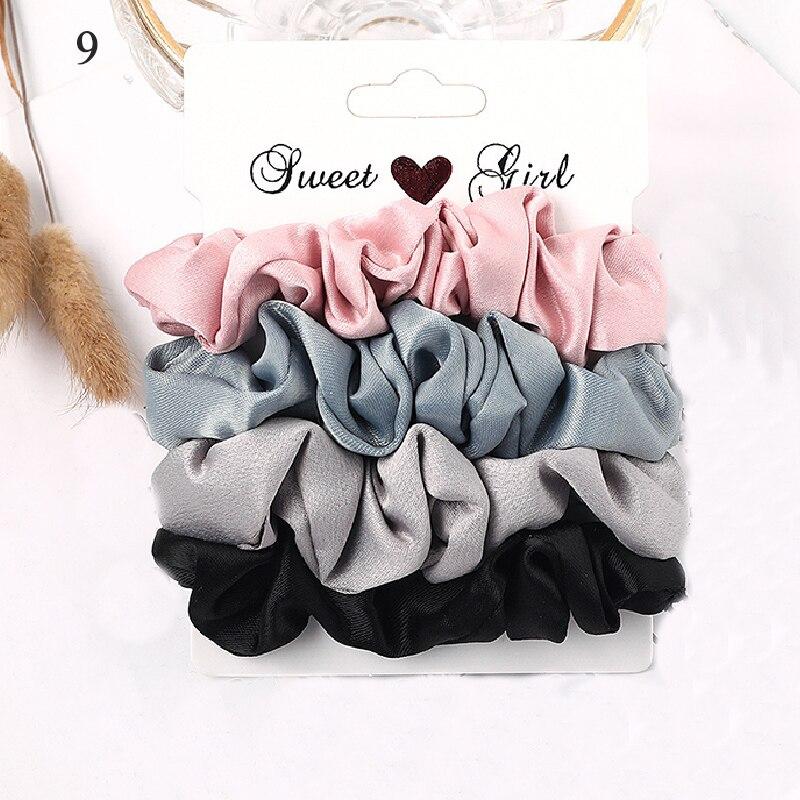 1 комплект резинки для волос кольцо для волос карамельного цвета Веревка для волос осень-зима женский хвостик аксессуары для волос 4-6 шт. ободки для девочек Подарки - Color: New 9
