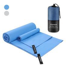 Gonex, 2 упаковки, микрофибра, спортивное полотенце для путешествий, супер абсорбент, Быстросохнущий пляжный коврик, полотенце для кемпинга, плавания, альпинизма, спортивного зала