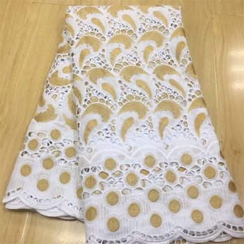 White Gold Class Design 100% Cotton Lace Fabrics High Quality Hollow Swiss Voile Lace In Switzerland Heavy Cotton Lace Fabrics
