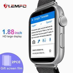 Смарт-часы LEMFO LEM10, 4G, 1,88 дюймов, большой экран, ОС Android 7,1, 3G ram, 32G rom, LTE, 4G Sim Камера, gps, Wi-Fi, частота сердечных сокращений, для мужчин и женщин