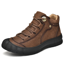 Winter Boots Rubber-Sole Men Shoes Ankle Outdoor Waterproof Genuine-Leather Warm-Fur