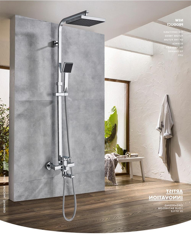 Hc56c4bf139b1464bb74b7963c3c4cdbas POIQIHY Black Bathroom Shower Faucet Set Wall Mount Black 8''Rainfall Shower Head With Handheld Sprayer Bathtub Shower Mixer