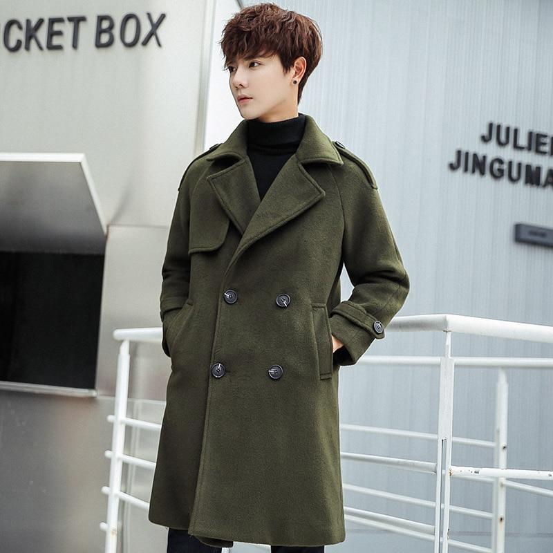 Trench Homme 2019 Winter Business Casual Long Trench Coat Men Korean Version Of The Slim Men's Long Coat Soft Black Coat Men