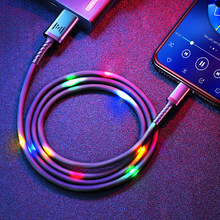 GENAI LED USB Cable for iPhone 12 Pro Max 11 Xs Max X 8 Plus Charging Cable 2.4A Fast Charging Cord for iPhone 7 6S Data Line
