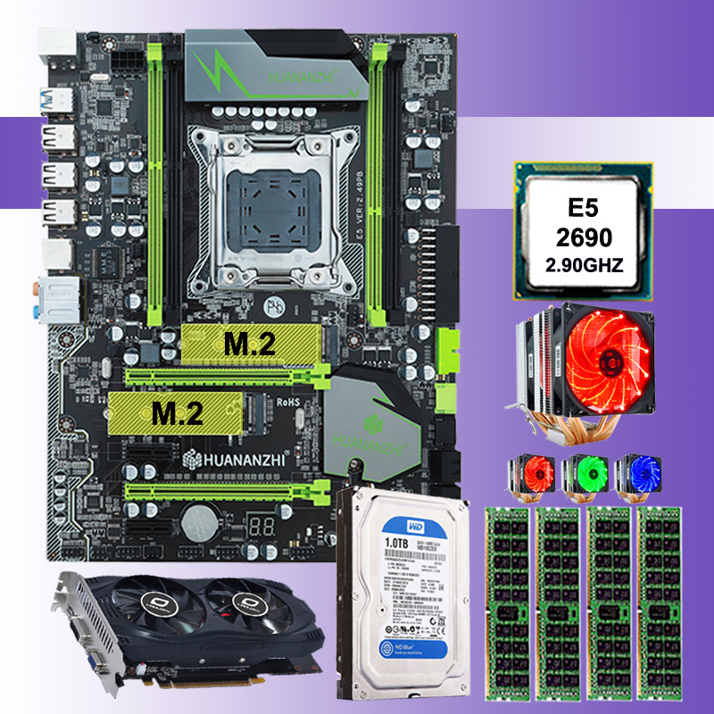 On sale HUANAN ZHI X79 motherboard with CPU Xeon E5 2690 C2 with cooler RAM 16G(<font><b>4</b></font>*4G) 1TB 3.5' SATA HDD video card <font><b>GTX750Ti</b></font> 2G image