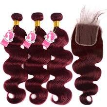 AliPearl 99J пряди с застежкой бразильские пупряди для плетения волос бордовые волнистые 3 пряди с застежкой для наращивания волос Remy