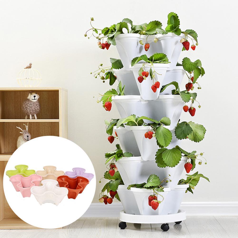 Plastic Stackable Vertical Flower Plant Pot Seedling Holder Garden Planter Decor Suitable For Growing Strawberry, Herbs, Flowers