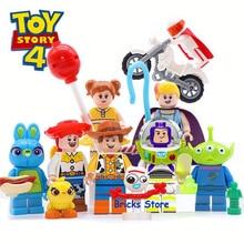 8 комплектов История Игрушек 4 Базз Лайтер Вуди Джесси инопланетянин Даки Бо Пип модель блоки Строительные кирпичи игрушки для детей