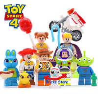 8 zestawów toy story 4 Buzz Lightyear Woody Jessie Alien Ducky Bo Peep Model bloki budowlane cegły budowlane zabawki dla dzieci