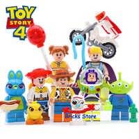 8Sets Spielzeug Geschichte 4 Buzz Lightyear Woody Jessie Alien Ducky Bo Peep Modell Blöcke Bau Gebäude Ziegel Spielzeug Für kinder