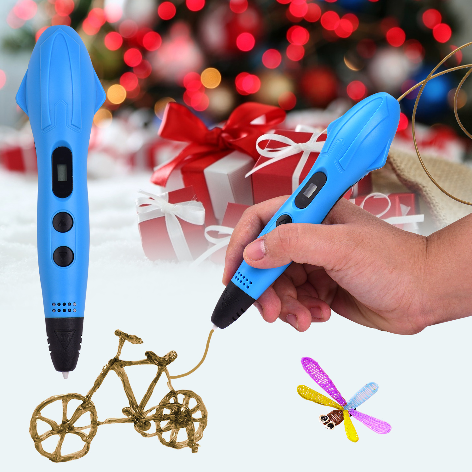 Best Birthday Holiday Gifts Toys 3D Printing Pen,with LCD Screen Display for,Temperature Control,Non-Clogging,Support Drawing in 3 Colors at The Same Time