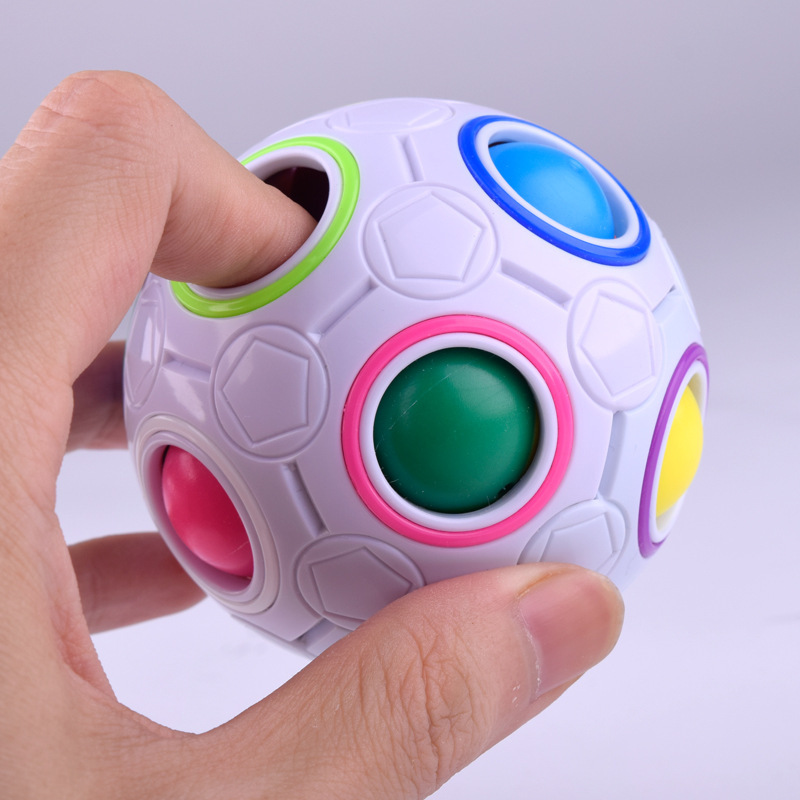 3D Spherical Rainbow 360 Cube Ball Football Cubes Puzzles Educational Kids Toys for Children Adults Learning Fun Game Gift(China)