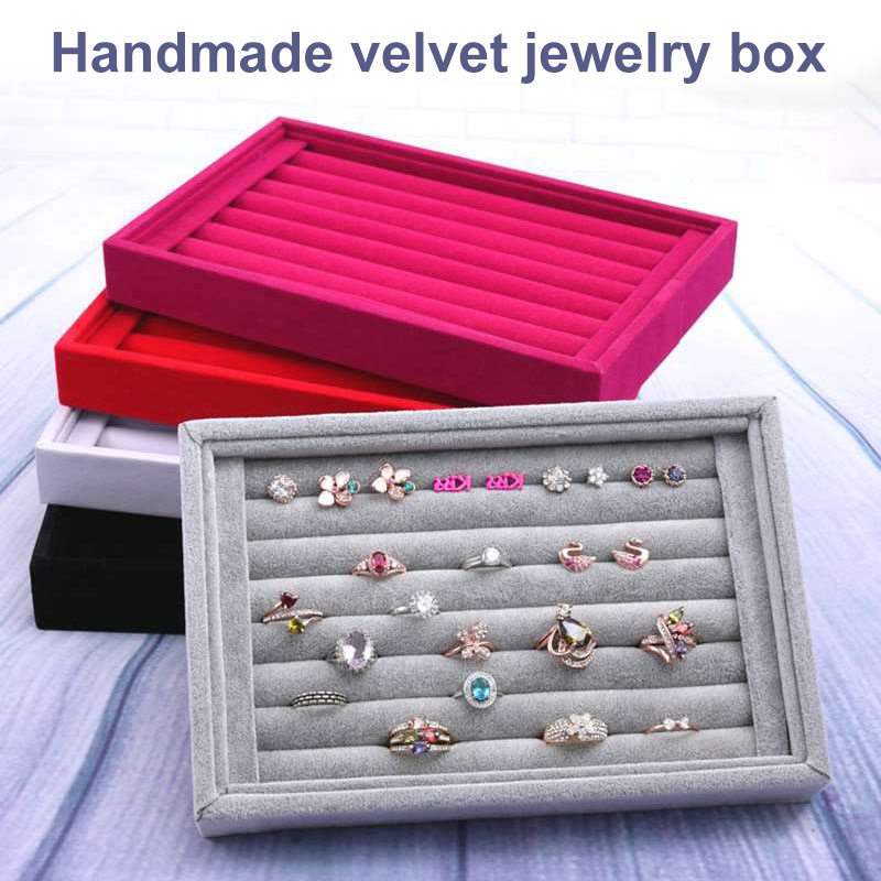 Portable Velvet Jewelry Ring Earring Insert Display Cufflinks Organizer Box Wooden Flat Stackable Tray Holder Storage Showcase