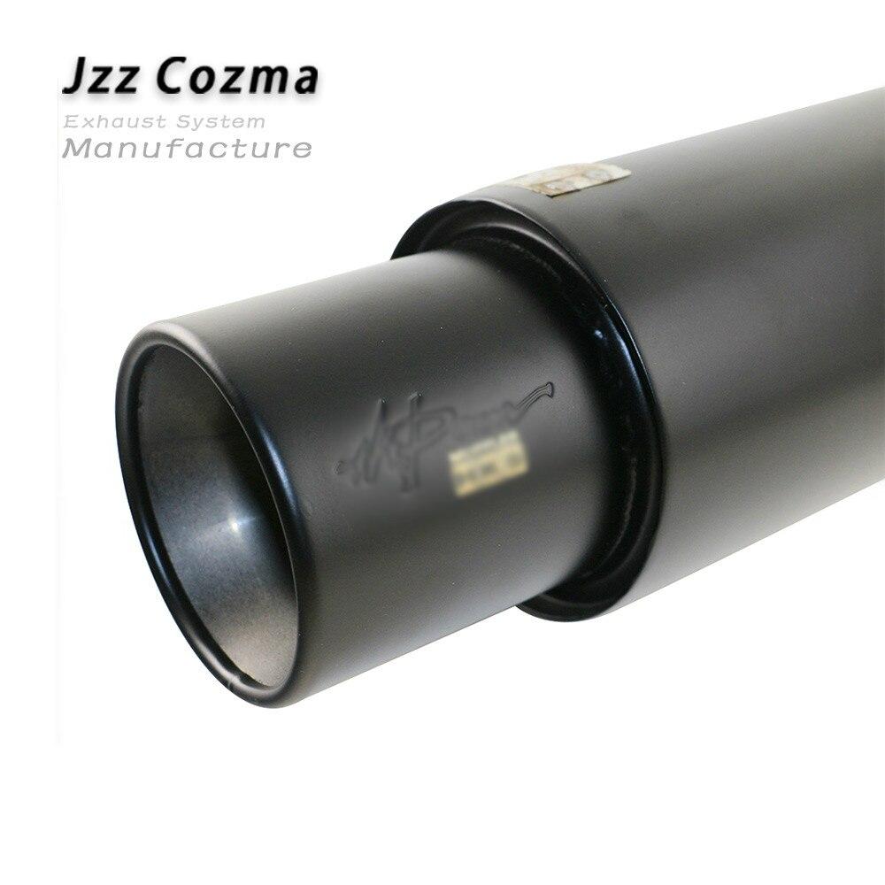 JZZ universale silenziatore per auto 51 millimetri in nero tubo di scarico in acciaio inox auto silenziatore grande suono straingth-attraverso terminale di scarico