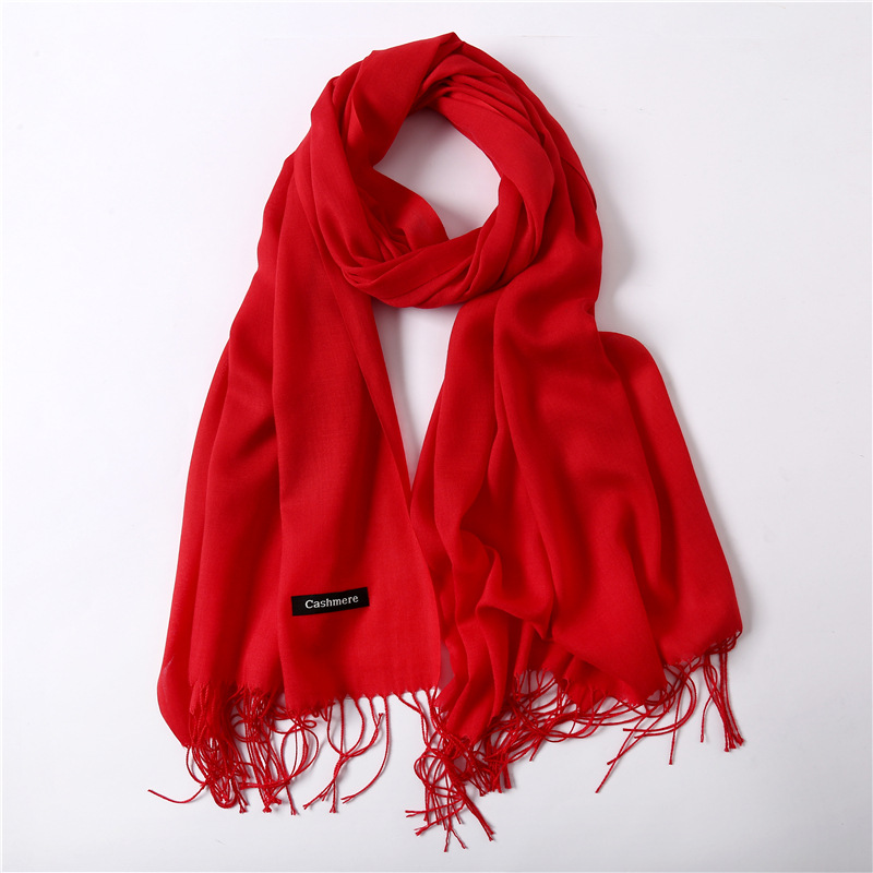 Solid Red Pink Thin Winter Scarf For Ladies Shawls And Wraps Pashmina Bandana Neck Scarves Hijab Women Female Stoles Foulard