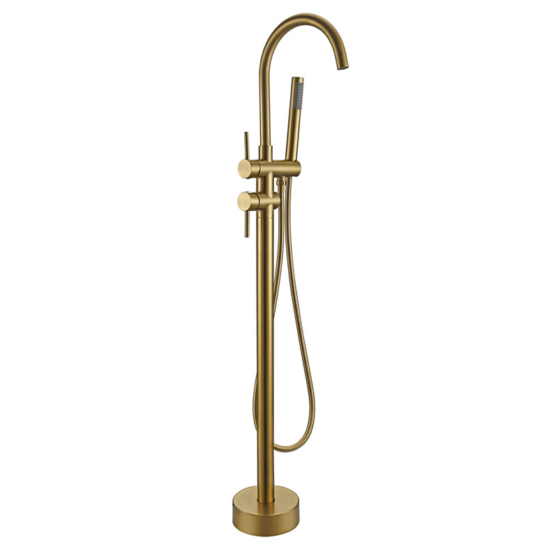 Black Gold Rose Bathtub Floor Stand Faucet Mixer Single Handle Tap 360 Rotation Spout With Brass Handshower Bath Mixer Shower