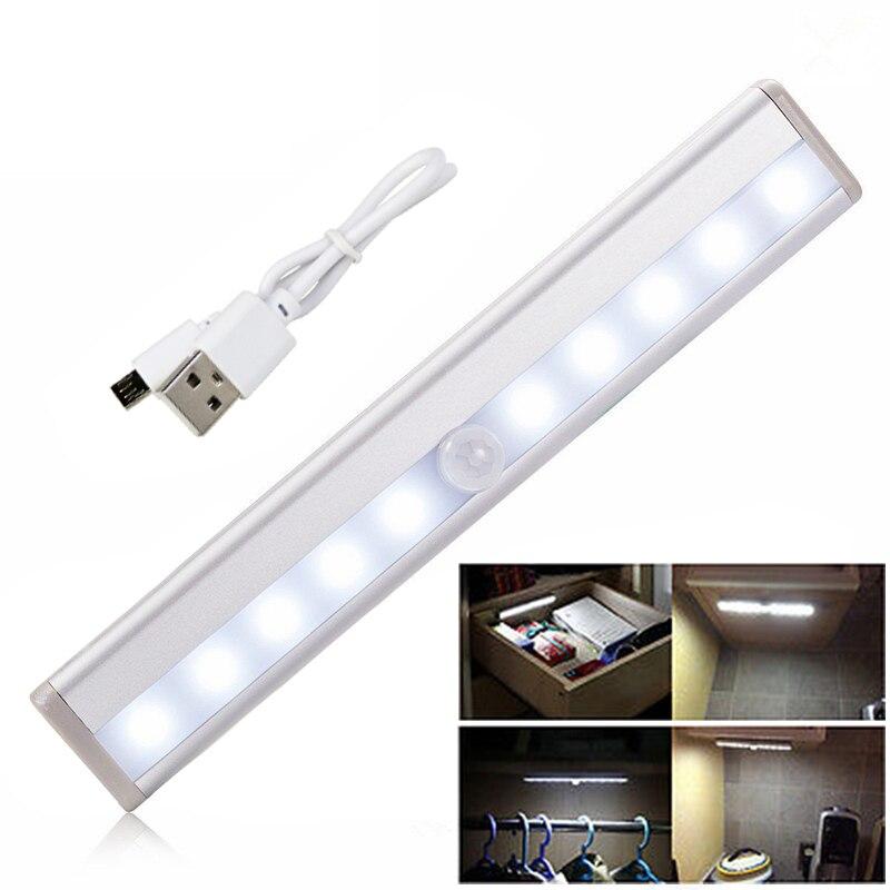 10 LED ワイヤレス USB 充電式モーションセンサーキャビネットライト下カウンタークローゼット照明磁気スティックの夜にライトバー
