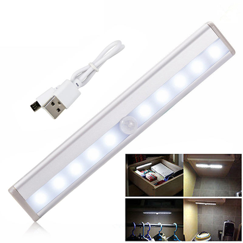 10 LED Wireless USB Rechargeable Motion Sensor Cabinet Light Under Counter Closet Lighting Magnetic Stick-on Night Light Bar
