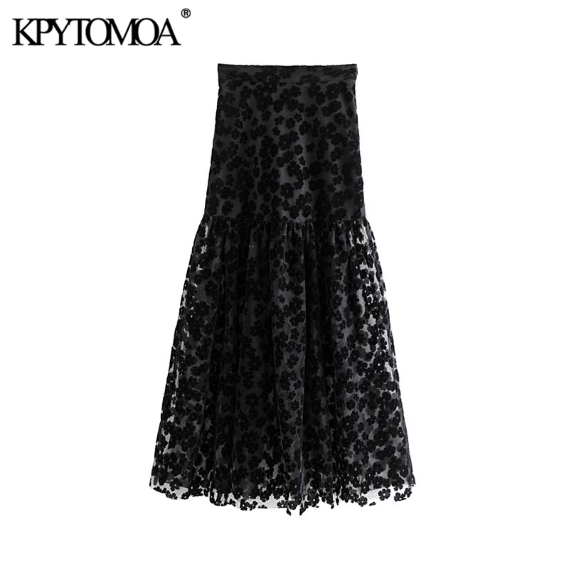 Vintage Stylish Floral Pattern Mesh Maxi Skirt Women 2019 Fashion Side Zipper See Through Sexy Female Skirts Faldas Mujer