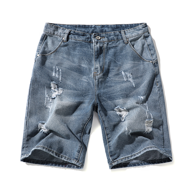 2019 Summer MEN'S Jeans Shorts Men's Washing Grinding With Holes Nostalgic Straight-Cut Shorts Trend Loose-Fit In Pants
