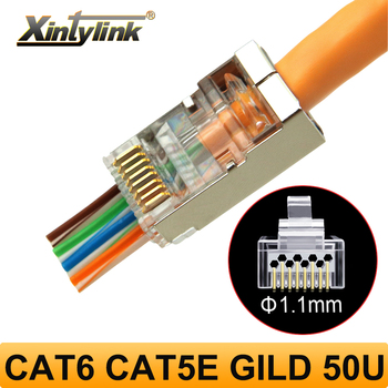 xintylink 50U EZ rj45 connector cat6 jack rg rj 45 ethernet cable plug rg45 cat5e STP 8P8C cat 6 network shielded modular cat5 xintylink 1 to 2 ways lan rg45 cat6 cat5e cat5 8p8c stp shielded ethernet network cable rj45 female splitter connector adapter