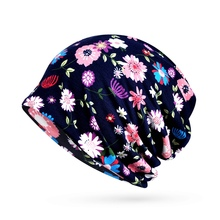 Fashion Women Outdoor Beanies Cap Scarf Floral Sunshade Breathable Warmer Hat Neck Hiking Riding Beach Travel Headwear