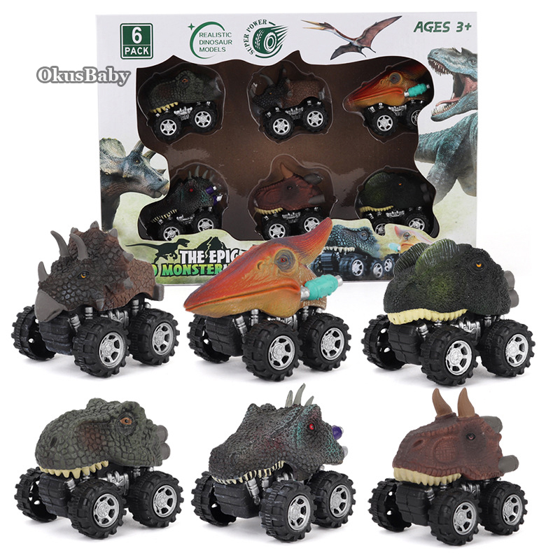 6pcs Set Toy Vehicle Dinosaur Model Mini Toy Car Inertial Back Small Truck For Kids Christmas Gift Set with Color Original Box image