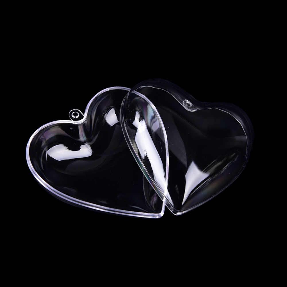 Desain Romantis Dekorasi Natal Jantung Bola Dapat Membuka Plastik Perhiasan Ornamen 2Pcs 65/80 MM Indah Jelas Permen kotak