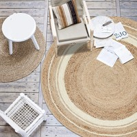 Natural quality Jute handmade knitted living room rug, round shaped decorative bedside carpet ,cool mat for summer
