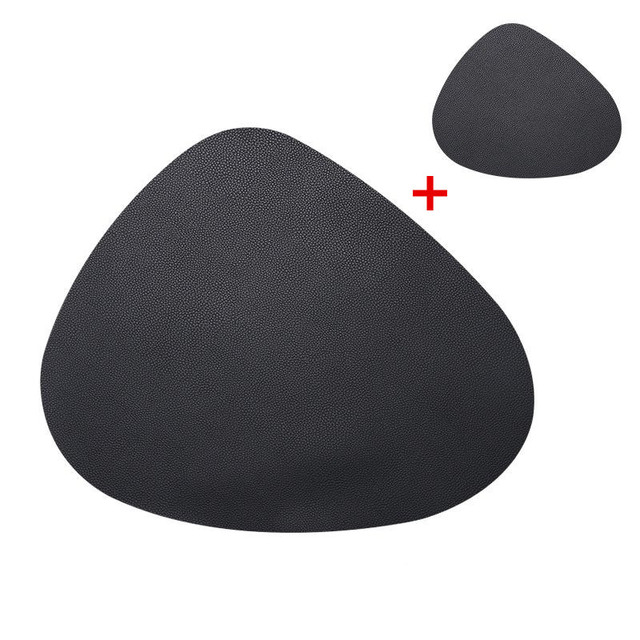Placemat Table Mat Tableware Pad PU Leather Waterproof Heat Insulation Non-Slip Placemat Soft Black Brown Washable Bowl Coaster