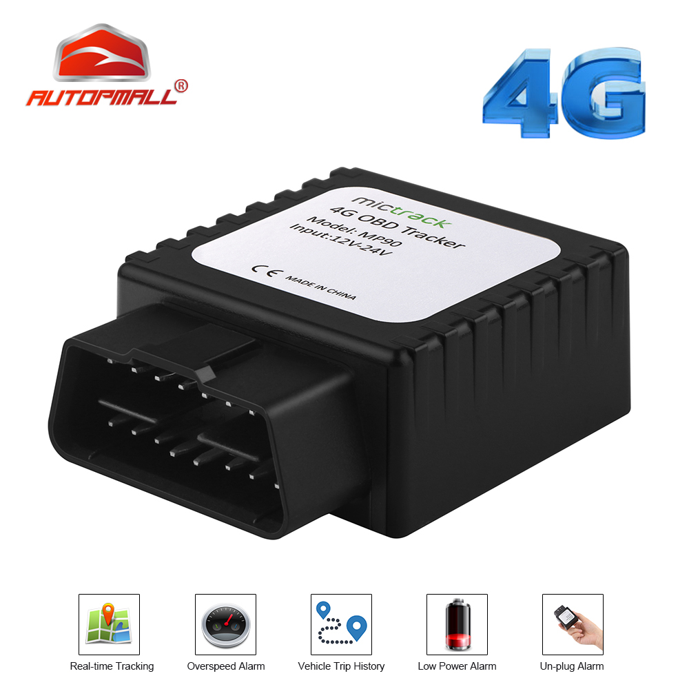 4G OBD II Tracker GPS Locator FDD LTE Real-time MP90 Vehicle GPS Easy Install OBD Plug Connector GPS Tracker Car Free Web APP title=