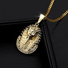 Homens hip hop colar pingente de corrente de aço inoxidável faraó egípcio cabeça pingente colares corrente punk jóias acessórios