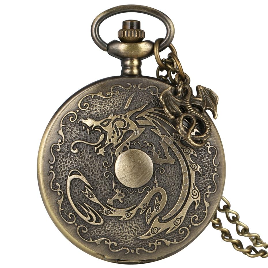 Bronze Fiery Dragon Fire Retro Punk Evil Dragon Quartz Pocket Watch Necklace Pendant Chain For Men Women With Dragon Accessory