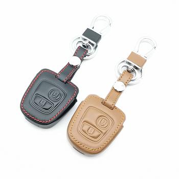 Gorąca sprzedaż obudowa kluczyka do samochodu Peugeot 107 206 307 207 408 dla Citroen c2 c3 c4 Xsara Picasso Berlingo dla toyota Aygo Reta etui na klucze tanie i dobre opinie VOMRCA CN (pochodzenie) Górna warstwa skóry Black Genuine Leather + PU + Stainless steel Keychain for Peugeot car key cover