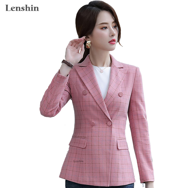 Lenshin Soft And Comfortable Pink Plaid Jacket With Pocket Office Lady Casual Style Blazer Women Wear Double-breasted Coat