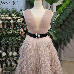 Image 3 - Rosa com decote em v sexy penas faixas vestidos de baile 2020 sem mangas a linha tornozelo comprimento vestido formal sereno hill dla70367