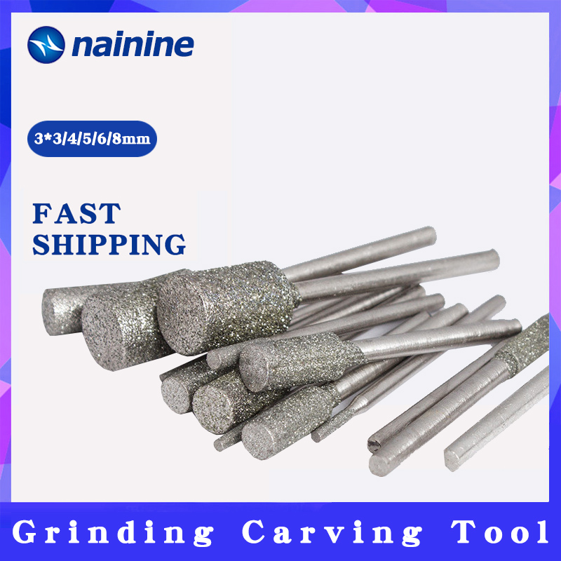 5Pcs/set 3*3/4/5/6/8mm Shank Diameter 3mm Cylindrical Graphite Rod Polished Diamond Grinding Needle Grinding Carving Tool A003