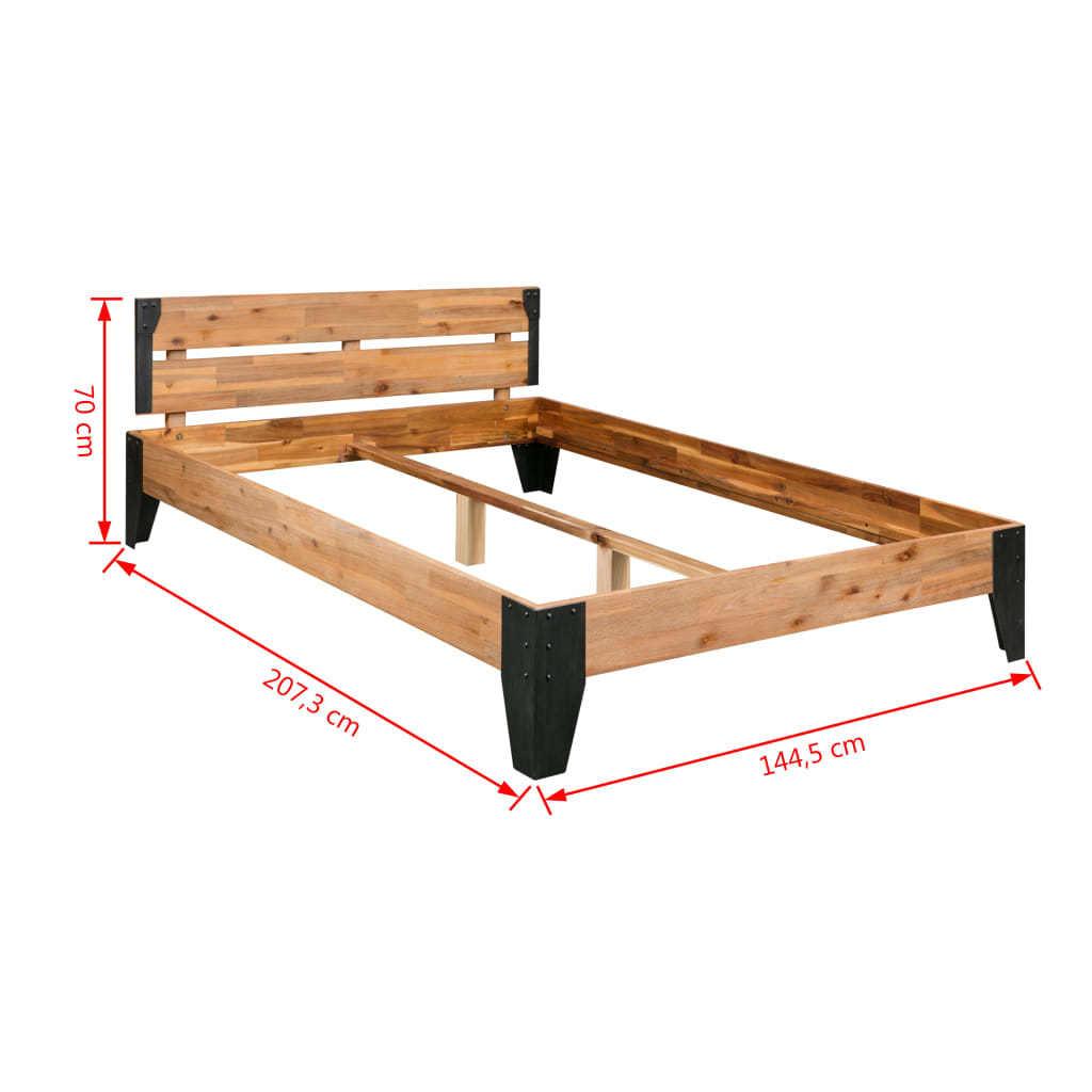 Solid Acacia Wood Steel 140x200 Cm