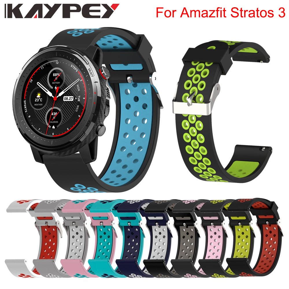 22mm Replacement Sport Silicone Watch Strap For Xiaomi Huami Amazfit Stratos 3 2/2s Band Bracelet Wrist Band Watch Accessories