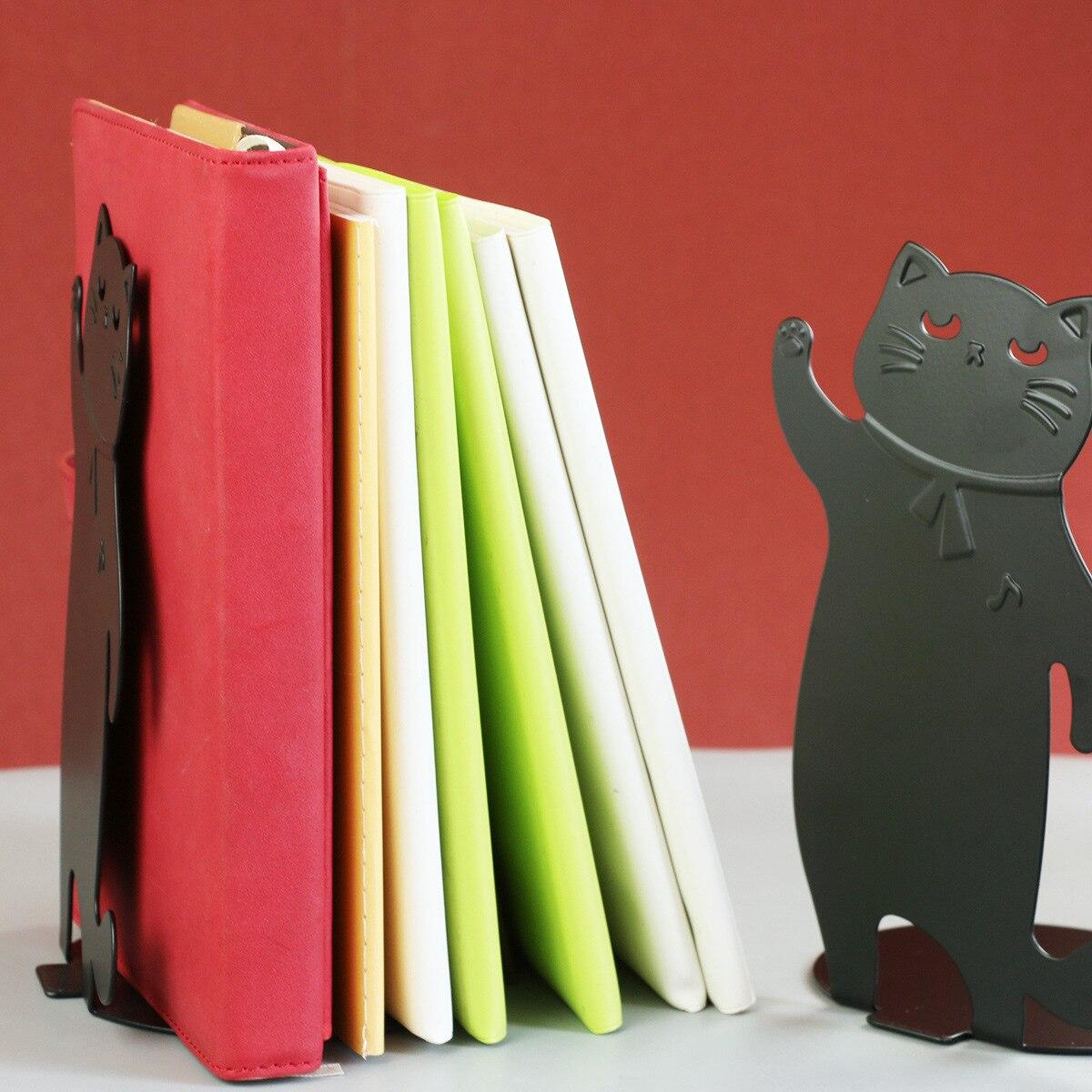 2pcs/pair Metal Desktop Organizer Bookends Animal Cat Shape Desk Holder Stand for Books Organizer Gift Stationery