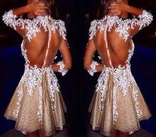 Короткое коктейльное платье из органзы цвета шампанского с кружевной