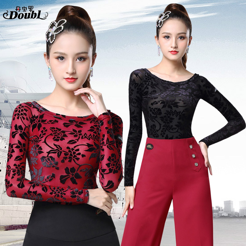 DOUBL Vogue Women's Latin Dancing Tops Wear Printing Female Adults 2019 New Ballroom Dance Long Sleeve Standard Practice Chacha